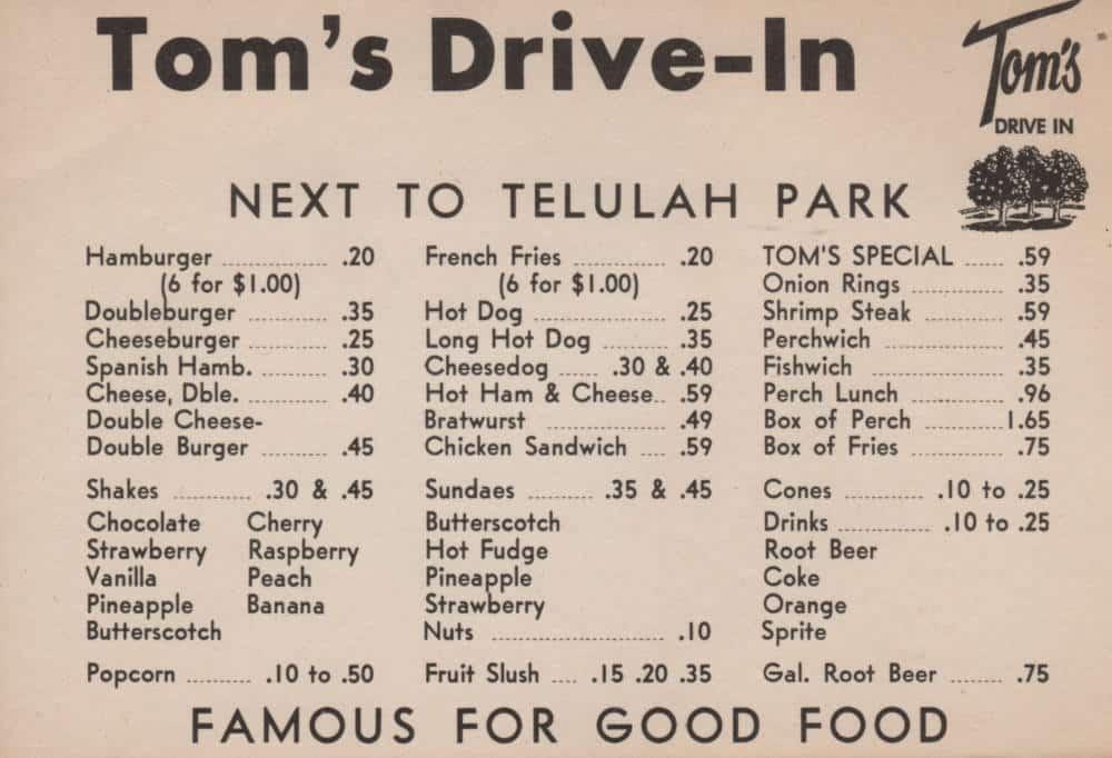 toms webster menu
